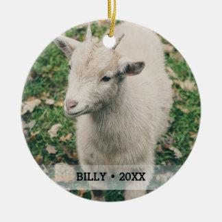 Personalized Pet Goat Photo Name Christmas Tree Ceramic Ornament