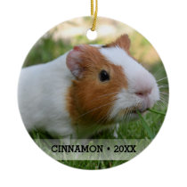 Personalized Pet Guinea Pig Photo Christmas Tree Ceramic Ornament