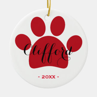 Personalized Pet Holidays ornament   Red Paw
