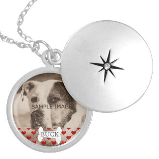 Personalized Pet Memorial Photo Hearts Keepsake Round Locket Necklace