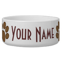 Personalized Pet Paw Print Feeding Dish