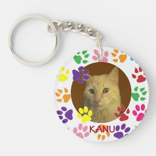 Personalized Pet Photo and Name double_sided Keychain