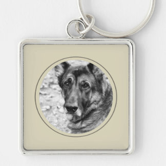 Personalized Pet Photo Beige Frame Key Chain