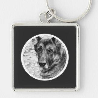 Personalized Pet Photo Dark Gray Frame Key Chain