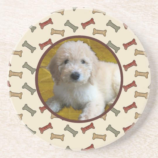 Personalized Pet Photo Dog Bone Custom Picture Sandstone Coaster