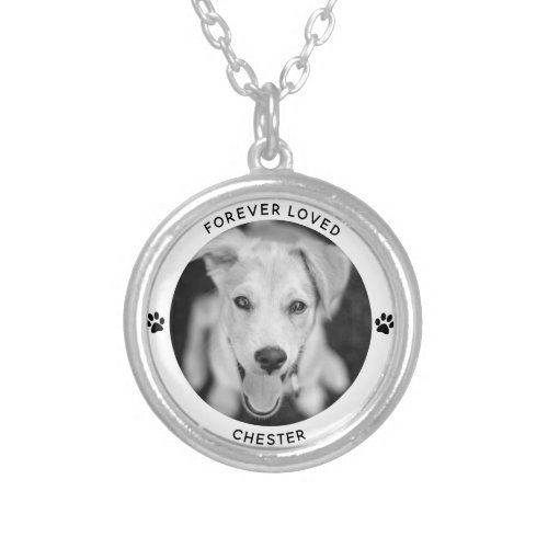 Personalized Pet Photo Dog Cat Memorial Keepsake Silver Plated Necklace