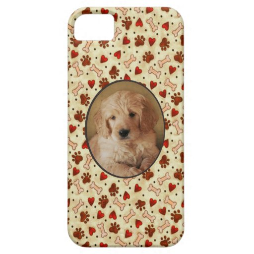 Personalized Pet Photo Dogbone Paws with Hearts iPhone 5 Case