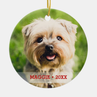 Personalized Pet Photo Double-sided Christmas Tree Ceramic Ornament