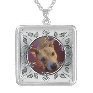 Personalized Pet Photo Frame Memorial Keepsake Silver Plated Necklace