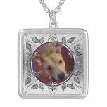 Personalized Pet Photo Frame Memorial Keepsake Square Pendant Necklace