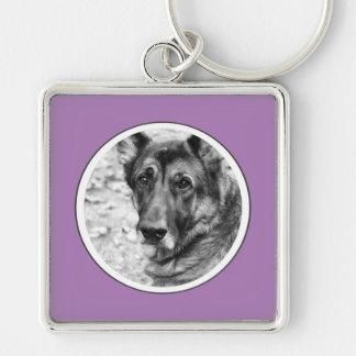 Personalized Pet Photo Lavender Frame Key Chain