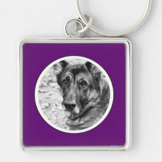 Personalized Pet Photo Purple Frame Key Chain