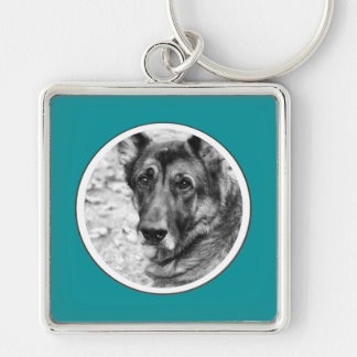 Personalized Pet Photo Teal Frame Key Chain