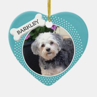 Personalized Pet Photo with Dog Bone Ceramic Ornament