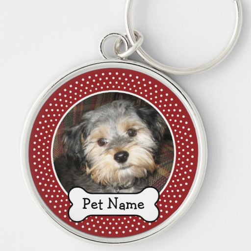 Personalized Pet Photo with Dog Bone Silver-Colored Round Keychain