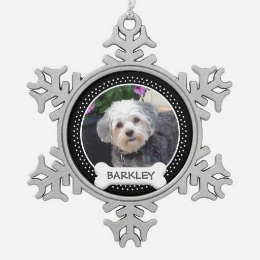 Personalized pet photo with dog bone snowflake pewter for Dog bone ornaments craft