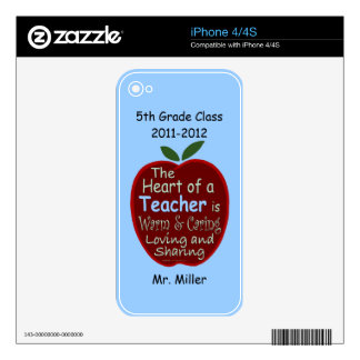 Personalized Phone Skin for Teacher Decals For iPhone 4S