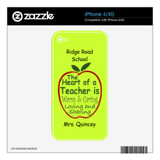 Personalized Phone Skin for Teacher iPhone 4S Decals