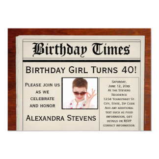 Personalized Photo 40th Birthday Party Newspaper 5x7 Paper Invitation Card