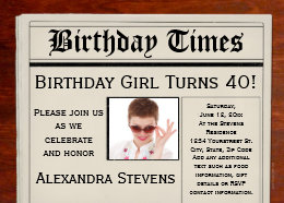Headlines invitations announcements zazzle personalized photo 40th birthday party newspaper card bookmarktalkfo Choice Image