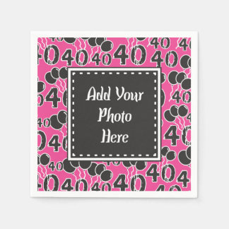 Personalized Photo 40th Birthday PINK Party Napkin