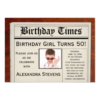 Personalized Photo 50th Birthday Party Newspaper 5x7 Paper Invitation Card