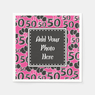 Personalized Photo 50th Birthday Party Paper Napkin