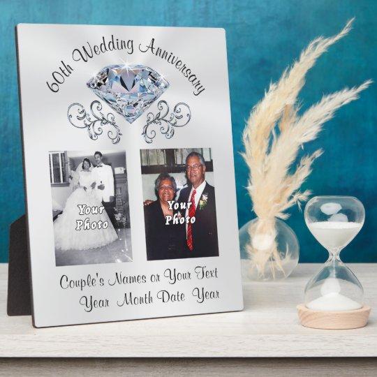 60Th Anniversary Gifts >> Personalized Photo 60th Anniversary Gift Plaque Zazzle Com
