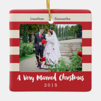 Personalized Photo, A Very Married Christmas Ceramic Ornament