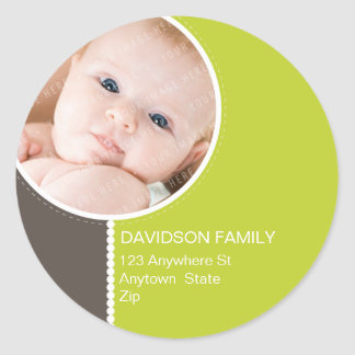 PERSONALIZED PHOTO ADDRESS LABELS :: goodcheer 2 Classic Round Sticker