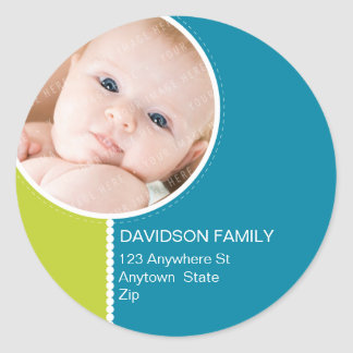 PERSONALIZED PHOTO ADDRESS LABELS :: goodcheer 5 Classic Round Sticker