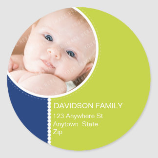 PERSONALIZED PHOTO ADDRESS LABELS :: goodcheer 6 Classic Round Sticker