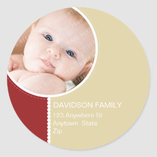 PERSONALIZED PHOTO ADDRESS LABELS :: goodcheer 7 Classic Round Sticker