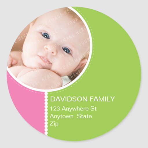 PERSONALIZED PHOTO ADDRESS LABELS :: goodcheer 8 Classic Round Sticker