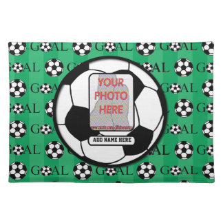 Personalized Photo and Name Soccer Ball Cloth Placemat