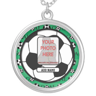 Personalized Photo and Name Soccer Ball Silver Plated Necklace