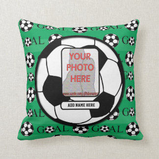 Personalized Photo and Name Soccer Ball Throw Pillow