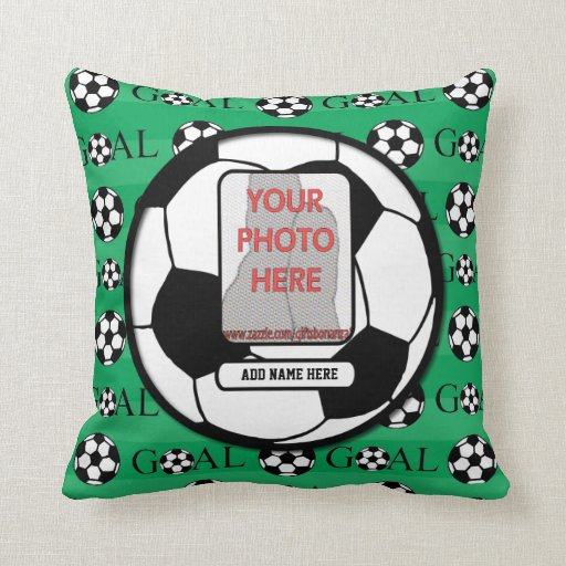 Personalized Photo and Name Soccer Ball Throw Pillows