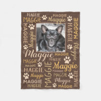 Personalized Photo and Names | Brown Dog Blanket