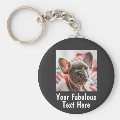 Personalized photo and text keychain