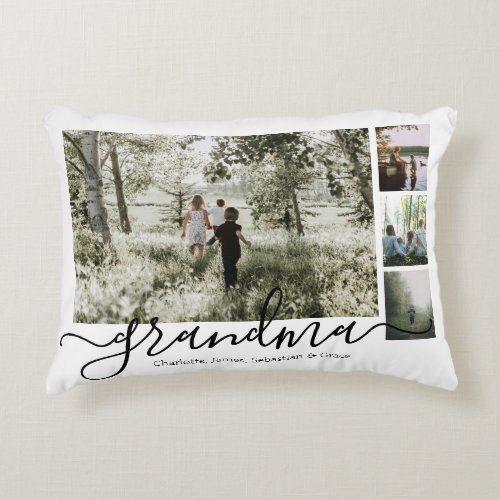 Personalized Photo and Text Photo Collage Family Accent Pillow