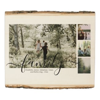 Personalized Photo and Text Photo Collage Family Wood Panel