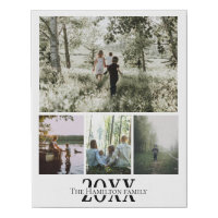 Personalized Photo and Text Photo Collage Faux Canvas Print