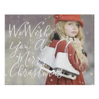 Personalized Photo and Title Christmas Decor Photo Faux Canvas Print