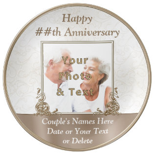 Personalized Photo Anniversary Gifts By Year Porcelain Plate at Zazzle