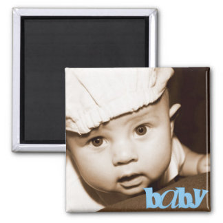 """Personalized Photo """"Baby"""" Magnet in Blue"""