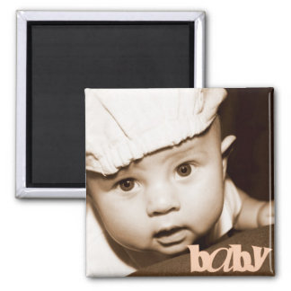"""Personalized Photo """"Baby"""" Magnet in Melon"""