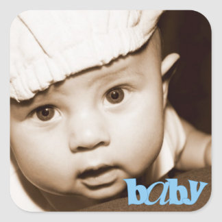 """Personalized Photo """"Baby"""" Sticker in Blue"""
