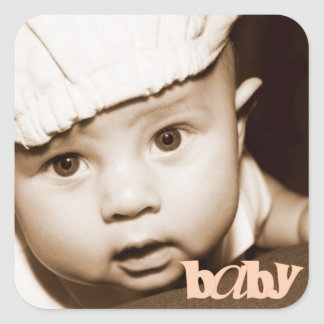 """Personalized Photo """"Baby"""" Sticker in Melon"""