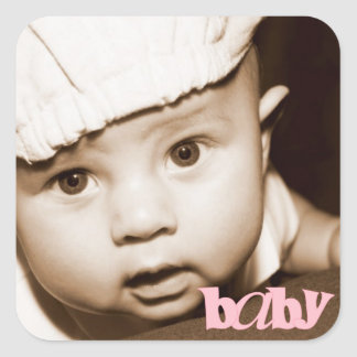 """Personalized Photo """"Baby"""" Sticker in Pink"""